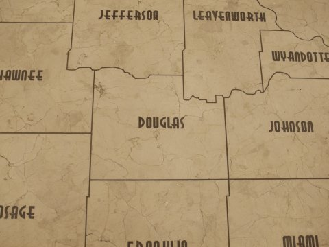 Marble map of Kansas, as seen in the visitor's center at the Kansas Statehouse. (Photo by Dan Skinner)