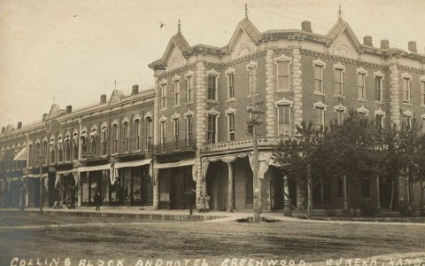 This is a postcard showing Collins Block and the Hotel Greenwood in Eureka, Kansas. Between 1905 and 1910. (Photo Courtesy of Kansas Historical Society/kansasmemory.org)