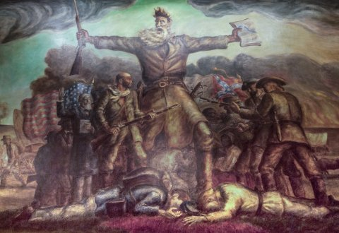 """The John Brown mural, known as """"Tragic Prelude,"""" at the Kansas Statehouse. (Photo by J. Schafer)"""