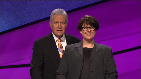 """KPR """"All Things Considered"""" host, Laura Lorson, with Alex Trebek, host of """"Jeopardy!"""" (Photo Courtesy of Sony Pictures)"""