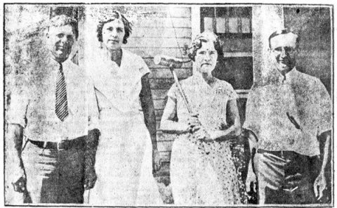 Mrs. Anson Horning, seen holding a croquet mallet, helped subdue a member of Bonnie and Clyde's gang in southwest Kansas in 1933.