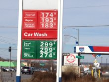 Gas prices have fallen below $2 a gallon in many places, including Lawrence, Kansas.  (Photo by J. Schafer, taken 12/31/14))