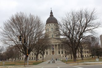 Overcast skies above the Kansas Statehouse in early March 2016. (Photo by J. Schafer)
