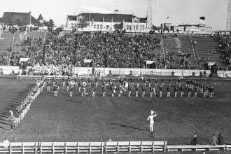 The Kansas State football stadium in the 1940s.