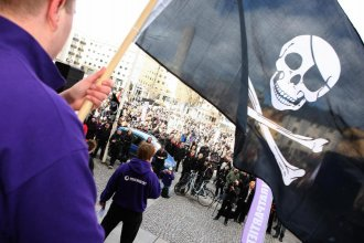 Supporters of the website The Pirate Bay, one of the world's top illegal file-sharing websites, demonstrate in Stockholm, Sweden, in 2009.