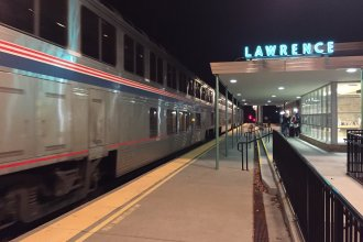 Amtrak's Southwest Chief arriving at the depot in Lawrence, Kansas, right around midnight. (Photo by J. Schafer)