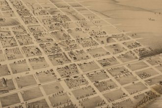 A bird's eye view of Concordia, Cloud County, Kansas, 1879. (Courtesy of Kansas Historical Society / kansasmemory.org)