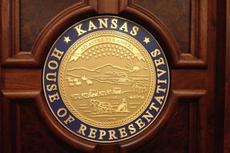 Seal of the State of Kansas, inside the Kansas House of Representatives (Photo by J. Schafer)