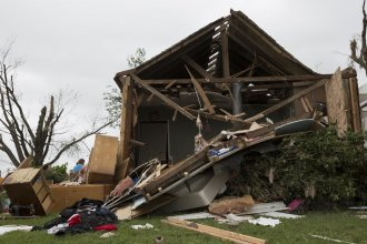 A tornado destroyed houses in Linwood, Kansas, last month. (Photo by Nomin Ujiyediin / Kansas News Service)
