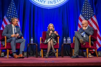 Photo of Senator Flake, Kearns Goodwin, and von Drehle used with permission of Truman Library Institute