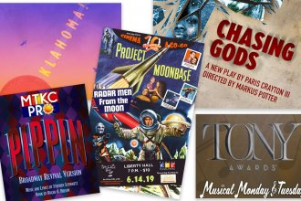 Show Posters for Oklahoma, Pippin, Cinema-a-Go-Go, Chasing Gods
