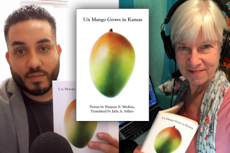 Photo collage of Huascar Medina, Kaye McIntyre, with book superimposed between the two