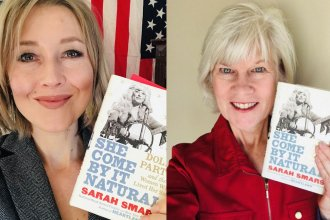 Image of Sarah Smarsh and Kaye McIntyre, each holding copy of book