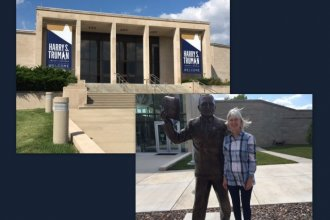 Photo of Truman Library, photo of Kaye McIntyre standing next to Truman statue