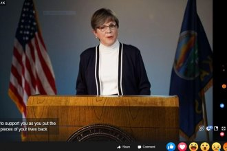Kansas Gov. Laura Kelly laying out her coronavirus shutdown phase-out plan on Facebook Live on Thursday night. (Screen capture from the governor's Facebook page)