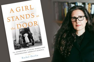 "Author Rachel Devlin with book ""A Girl Stands at the Door"""
