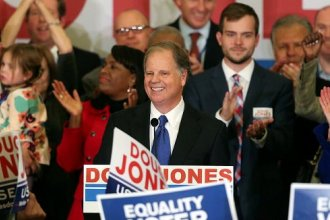 Democrat Doug Jones speaks Tuesday in Birmingham, Alabama. He won Alabama's special Senate election Tuesday night. (AP Photo/John Bazemore)