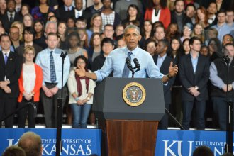President Barack Obama speaks at KU's Anschutz Sports Pavilion on Jan. 22. (Photo by Sheri Hamilton)
