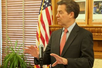 Governor Brownback speaking earlier this year. (Photo by Stephen Koranda)