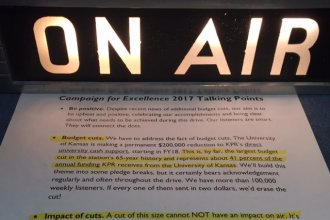 KPR's talking points about station's $200,000 budget cut. (Photo by J. Schafer)