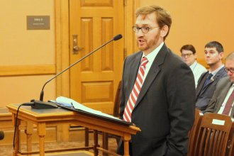 Pediatrician Casey Cordts testifying at the Statehouse. (Photo by Stephen Koranda)
