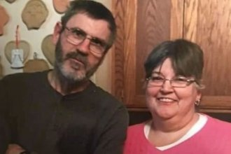 """George """"Bernie"""" Robare, left, died of COVID-19 on May 11. He is the first prison employee in Kansas known to have died of the virus. He is pictured with his wife, Susan Robare of Bonner Springs. (Photo courtesy of Rachel Robare)"""