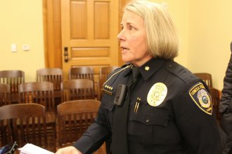Lenexa Police Major Dawn Layman wears a body camera following the hearing. (Photo by Stephen Koranda)