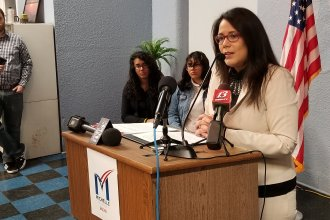 Topeka Mayor Michelle De La Isla at a campaign event Monday. (Photo by Stephen Koranda)