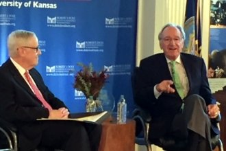 Dole Institute Director Bill Lacy with Former Senator Tom Harkin (D-IA)