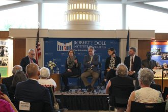 Photo of Bill Lacy, Mary Clackin, Jim McLean, Caroline Sweeney, and Hunter Woodall, courtesy of Dole Institute of Politics