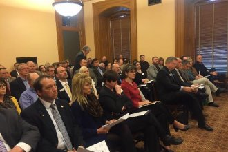 Teachers pack hearing at the Kansas House Education Committee. (Photo: Sam Zeff, KCUR)