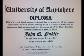 Here's an image of a fake diploma, created by J. Schafer, for illustrative purposes only.
