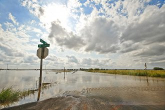 Heavy rains this spring led to widespread flooding in Kansas.  This photograph wa staken near Larned, in central Kansas.  (Photo by Chris Neal / Kansas News Service)