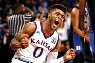 KU guard Frank Mason III.  The Jayhawks were eliminated in the Elite Eight by Oregon but players and coaches continue to win awards, including Mason.