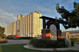 A view of Garden City and its grain elevator. (Photo by Corinne Boyer / Kansas News Service)