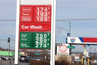 Gas prices have fallen below $2 a gallon in many places, including Lawrence, Kan. (Photo by J. Schafer, taken 12/31/14)