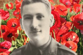 American soldier with poppy background. Photo credit: National WWI Museum and Memorial