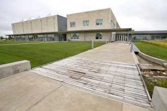 Greensburg, Kansas, built a new, environmentally-friendly, high-tech high school after being hit by a massive tornado in 2007. (Photo by Chris Neal / Kansas News Service)