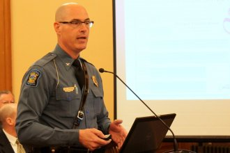 Highway Patrol Superintendent Colonel Mark Bruce at the Statehouse earlier this year. (Photo by Stephen Koranda)