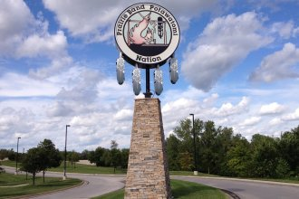 Sign on the Potawatomi Indian Reservation (Photo by Bryan Thompson)