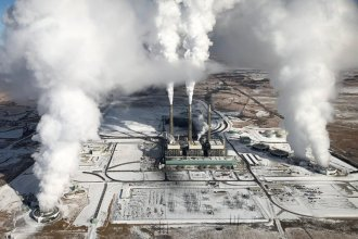 Jeffrey Energy Center, a coal-fired power plant operated by Evergy, is located northwest of St. Marys in Pottawatomie County. (Photo from Kanss Highway Patrol Air Support Unit)