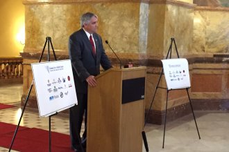 Dr. Roy Jensen speaking at the Kansas Statehouse. (Photo by Stephen Koranda)