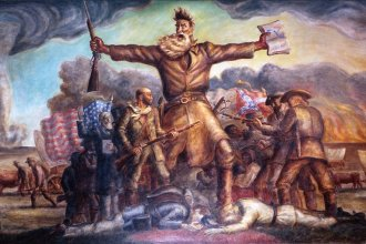 "Kansas Statehouse mural of abolitionist John Brown, foreshadowing the American Civil War.  Painted by native Kansan John Steuart Curry, this work is titled, ""Tragic Prelude."""