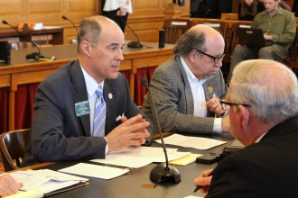 House Tax Committee Chairman Steven Johnson during tax talks last week. (Photo by Stephen Koranda)
