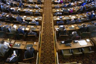 State lawmakers in Kansas typically make about $21,900 each legislative session.  Some would like to see that amount go up.  (Photo by Nomin Ujiyediin / Kansas News Service)