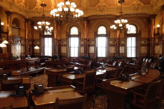 Kansas Senate chamber, sans state senators (Photo by J. Schafer)