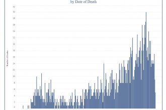 The number of COVID-19 deaths by day in Kansas. (Graph from the Kansas Department of Health and Environment)