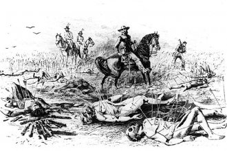 "Depiction of the scene, witnessed by George Armstrong Custer, following the ""Kidder Massacre"" in Sherman County, Kansas, in the summer of 1867. (Image credit: Harper's Weekly)"