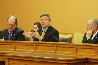 Former state Senator Jeff King speaking to senators Monday. (Photo by Stephen Koranda)