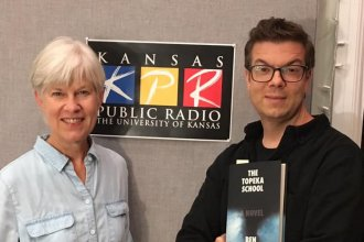 KPR Presents host Kaye McIntyre and author Ben Lerner, KPR logo in background